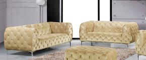 Mercer Collection 646-BE-S-L 2 Piece Living Room Set with Sofa and Loveseat in Beige