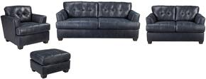 Inmon Collection 65806SLCO 4-Piece Living Room Set with Sofa, Loveseat, Living Room Chair and Ottoman in Navy
