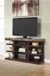 "Kraleene W6876802 60"" Wide LG TV Stand and Glass/Stone with LED Lit Fire Display Fireplace Insert in Woody Brown Finish"
