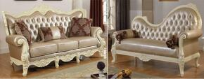 Madrid 674-S-CH 2 Piece Living Room Set with Sofa and Chaise in Rich Pearl White