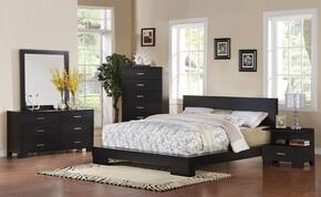 20057EKDMCN London Panel Eastern King Size Bed + Dresser + Mirror + Chest + Nightstand in Black Finish