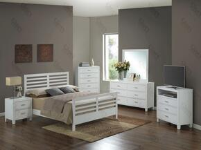 G1275CKB2DMNTV 5 Piece Set including King Size Bed, Dresser, Mirror, Nightstand and Media Chest  in White