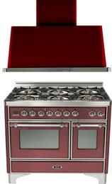 "2-Piece Burgundy Kitchen Package with UMD1006DMPRBX 40"" Freestanding Dual Fuel Range (Chrome Trim, 6 Burners, Timer) and UAM100RB 40"" Wall Mount Range Hood"