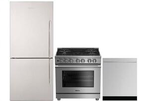 "3-Piece Kitchen Package with BRFB1812SSLN 30"" Counter Depth Bottom Freezer Refrigerator, BGRP34520SS 30"" Freestanding Gas Range, and a free DWT55300SS 24"" Built In Fully Integrated Dishwasher in Stainless Steel"