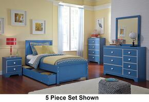Bronilly Twin Bedroom Set with Panel Storage Bed, Dresser, Mirror, Two Night Stands and Chest in Blue