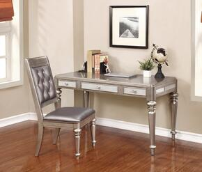 804187DC 2 PC Desks Set with Writing Desk + Side Chair in Metallic Platinum Finish