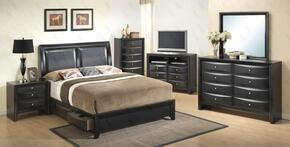 G1500DDTSB2CHDMNTV 6 Piece Set including Twin Size Bed, Chest, Dresser, Mirror, Nightstand and Media Chest  in Black