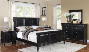 00222QBDMNN Martinique 5 Piece Bedroom Set with Queen Bed, Dresser, Mirror and Two Nightstands, in Rubbed Black