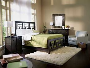 Perspectives Lattice Collection 5 Piece Bedroom Set With Queen Size Panel Bed + 2 Nightstands + Dresser + Mirror: Graphite