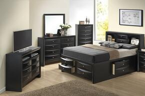 G1500GKSB3CHDMTV 5 Piece Set including King Size Bed, Chest, Dresser, Mirror and Media in Black