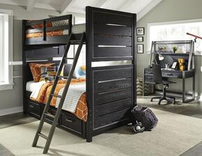 Graphite 8942730731732BDHD 5 PC Bedroom Set with Twin Size Bunk Bed + Desk + Hutch + Chair in Black Color