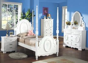 01660TDMNTVA Flora Twin Size Poster Bed + Dresser + Mirror + Nightstand + TV Armoire with Turned Posts, Whimsical Traditional Design, Hardwood Solids and Veneers in White Finish