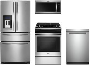 "4-Piece Stainless Steel Kitchen Package with WRX735SDBM 36"" French Door Refrigerator, WEG515S0FS 30"" Slide-In Gas Range, WMH32519HZ 30"" Over the Range Microwave, and WDTA50SAHZ 24"" Fully Integrated Dishwasher"