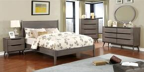 Lennart Collection CM7386GYEKBEDSET 5 PC Bedroom Set with Eastern King Size Panel Bed + Dresser + Mirror + Chest + Nightstand in Grey Finish