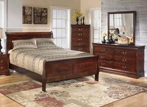 Alisdair Queen Bedroom Set with Sleigh Bed, Dresser, Mirror and Chest in Dark Brown