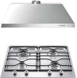 "2-Piece Stainless Steel Kitchen Package with PM24400X 24"" Natural Gas Cooktop and KU24PRO1X14 24"" Canopy Hood"