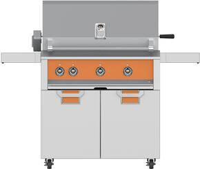 "Aspire Series 36"" Liquid Propane Grill with ECD36OR Tower Grill Cart with Two Doors, in Citra Orange"