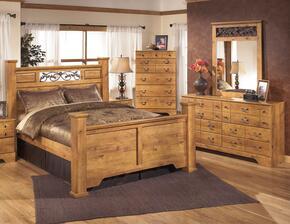 Bittersweet King Bedroom Set with Poster Bed, Dresser and Mirror in Light Wood
