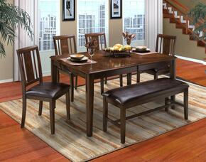 4015011CCCB Latitudes 6 Piece Dining Room Set with Cut Corner Table, 4 Chairs and 1 Bench, in Chestnut
