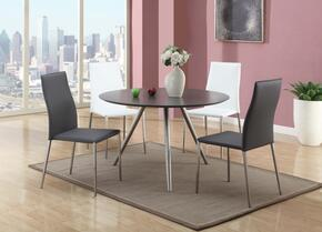 ESTHER-DTSETGRY ESTHER DINING Grey Wooden Dining Table with 4 Grey Contour Back Stackable Side Chairs