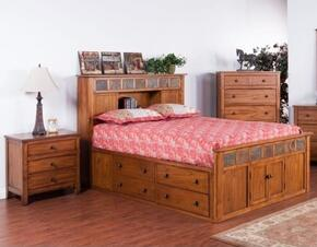 Sedona Collection 2334ROSQBBEDROOMSET 2-Piece Bedroom Set with Storage Queen Bed and Nightstand in Rustic Oak Finish