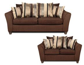 6950S Lizzy Sofa + Loveseat with 1.5 Density Dacron Wrapped Cushions, Sewn Pillow Cushions, No Sag Steel Springs, Polyester Blend Upholstery and Zippered Cushions in Romance Brown