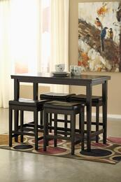 Mia Collection 5-Piece Dining Room Set with Rectangular Counter Table and 4 Barstools in Dark Brown