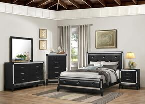 1003-5052/68SQ City Lights Bedroom Set  Queen Bed, Dresser, Mirror, Chest and Nightstand with  Apron, Tapered Legs and Molding Detail in Onyx
