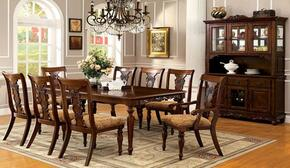 Seymour Collection CM3880T6SC2ACHB 10-Piece Dining Room Set with Rectangular Table, 6 Side Chairs, 2 Arm Chairs and Hutch with Buffet in Dark Oak