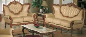 2118KHAKIS2SET Traditional 2 Piece Livingroom Set, Sofa and Loveseat in Khaki with Glossy Walnut Finish