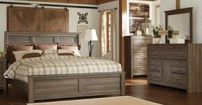 Juararo King Bedroom Set with Panel Bed, Dresser and Mirror in Dark Brown