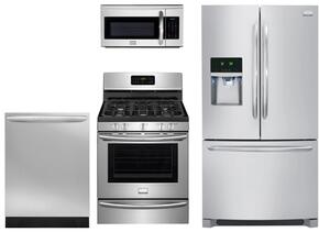 "Gallery Series 4 Piece Stainless Steel Kitchen Package With DGGF3046RF 30"" Gas Freestanding Range, FGHF2366PF 36"" French Door Refrigerator, FGMV175QF Over the Range Microwave Oven and FGID2466QF 24"" Built in Dishwasher"