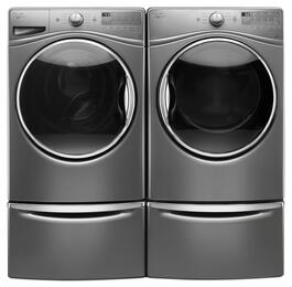 "Chrome Shadow Front Load Laundry Pair with WFW90HEFC 27"" Washer, WED90HEFC 27"" Electric Dryer and 2 XHPC155YC Pedestals"