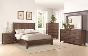 Lancashire Collection 204111KW4PC 4-Piece Bedroom Set with California King Platform Bed, Night Stand, Dresser and Mirror in Wire Brushed Cinnamon Finish