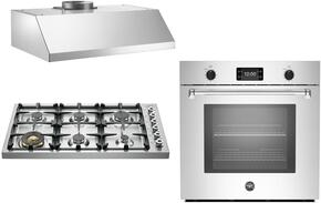 "3-Piece Stainless Steel Kitchen Package with DB36600X 36"" Gas Cooktop, MASFS30XT 30"" Electric Single Wall Oven, and KU36PRO1XV 36"" Wall Mount Convertible Hood"