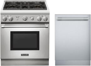 "2 Piece Stainless Steel Kitchen Package With PRG304GH 30"" Gas Freestanding Range and DWHD440MFM 24"" Dishwasher For Free"