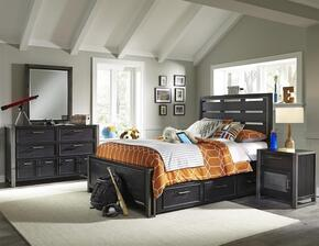 Graphite 8942401532533BDMND 5 PC Bedroom Set with Full Size Bed + Dresser + Mirror + Nightstand + Underbed Storage Drawers in Black Color