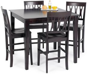040605012SET Abbie Dining Table Set with One Counter Table and Four Chairs, in Espresso