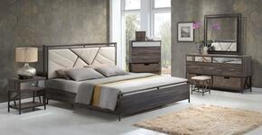 Adrianna 20950Q7PC Bedroom Set with Queen Size Bed + Dresser + Dresser Baskets + Mirror + Chest + Chest  Baskets + Nightstand in Walnut Finish