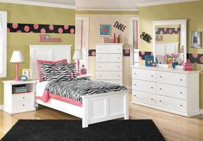 Bostwick Shoals Twin Bedroom Set with Panel Bed, Dresser, Mirror and Nightstand in White