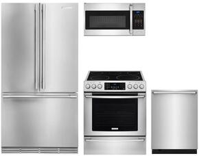"""4-Piece Kitchen Package with E23BC68JPS 36"""" French Door Refrigerator, EI30EF45QS 30"""" ELectric Freestanding Range, EI24ID81SS 24"""" Built in Dishwasher and EI30SM35QS 30"""" Convection Microwave in Stainless Steel"""