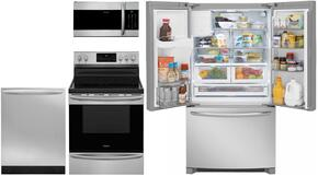 "Gallery 4-Piece Stainless Steel Kitchen Package with FGHB2868TF 36"" French Door Refrigerator, FGGF3036TF 30"" Freestanding Gas Range, FGID2466QF 24"" Fully Integrated Dishwasher and FGMV176NTF 30"" Over-the-Range Microwave"