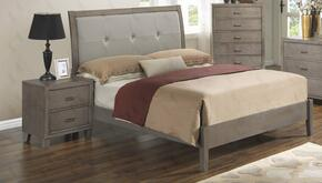 G1205AQBN 2 Piece Set including Queen Bed and Nightstand  in Grey