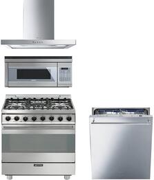 "4-Piece Stainless Steel Kitchen Package with C30GGXU1 30"" Freestanding Gas Range, KSM30XU 30"" Wall Mount Hood, OTR111SU 30"" Over the Range Microwave, and STU8647X 24"" Fully Integrated Dishwasher"