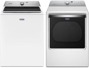 "White Front Load Laundry Pair with MVWB865GW 28"" Washer 5.2 cu. ft. Capacity and MEDB835DW 29"" Electric Dryer"
