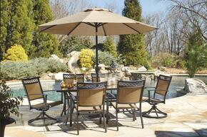 Christie Collection OD-365-RECT4C2SCU 8-Piece Outdoor Patio Set with Rectangular Dining Table, 4 Side Chairs, 2 Swivel Chairs and Umbrella with Stand in Tan and Brown