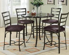 Daisy 70090BKT4C Bar Table Set with Counter Height Table + 4 Black Chairs in Antique Bronze Finish