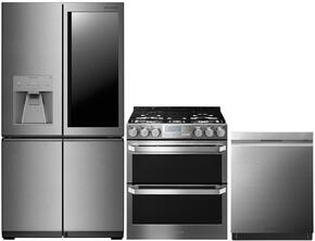 "3-Piece Stainless Steel Kitchen Package with LUPXC2386N 36"" French 4 Door Refrigerator, LUTG4519SN 30"" Slide-In Gas Range and LUDP8997SN 24"" Fully Integrated Dishwasher"