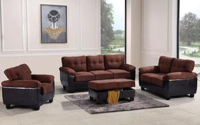 G906ASET 4 PC Living Room Set with Sofa + Loveseat + Armchair + Ottoman in Chocolate Color