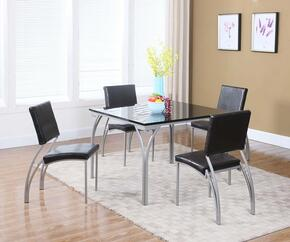 Georgia Collection GEORGIA-5PC 5 PC Dining Room Set with Dining Table + 4 Side Chairs in Black and Silver Finish